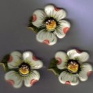 Decorative Ceramic Button Covers  handcrafted  3 DOGWOOD
