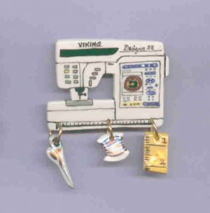 Ceramic Sewing Machine Pin   VIKING DESIGNER  SE