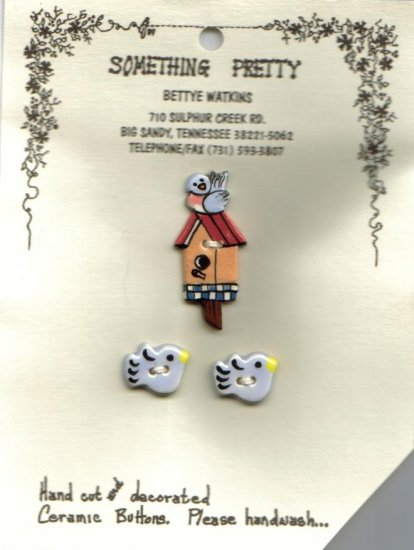 Handcrafted Decorative Ceramic Buttons Tiny Blue Bird