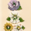 Handcrafted Decorative Ceramic Buttons  FLOWERS