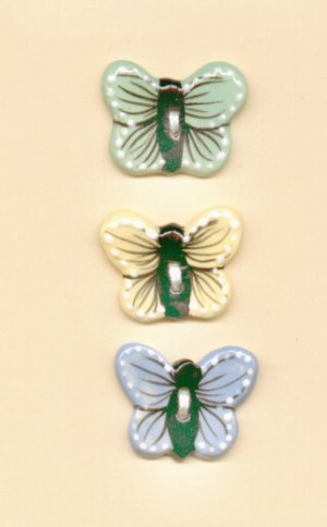 Handcrafted Decorative Ceramic  Buttons BUTTERFLIES