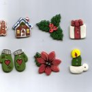 Handcrafted Decorative  7 Ceramic Buttons  CHRISTMAS