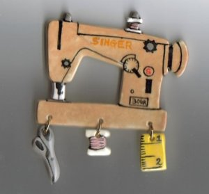 Handcrafted Ceramic Sewing Machine Pin  Singer 503A 503