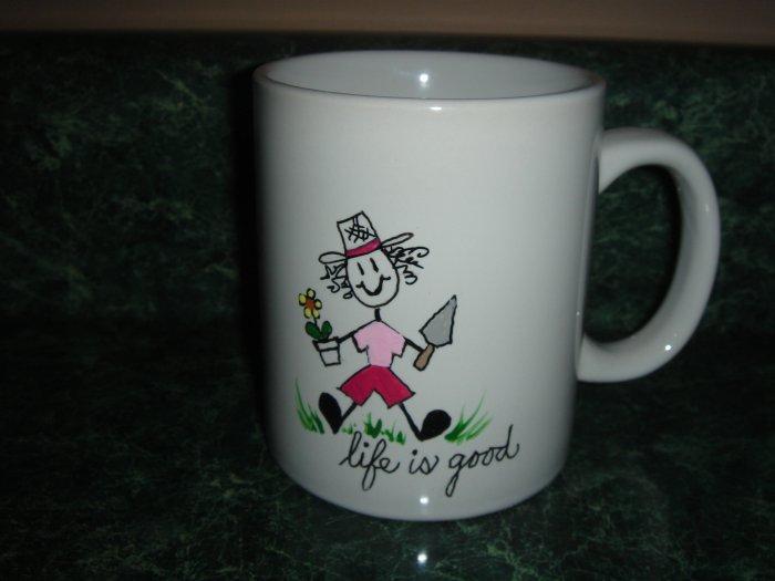 Personalized Ceramic Mug Stick Person Gardening Life is good