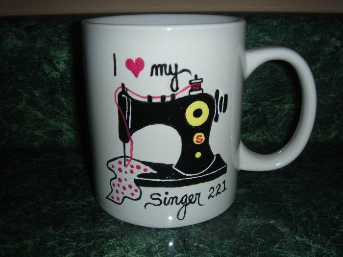 Personalized Ceramic Mug  I love my Old Black Singer 221