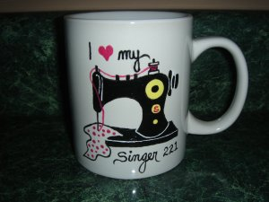 Personalized Ceramic Mug  I love my Old Black Singer 221