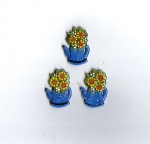 Handcrafted decorative ceramic buttons  Sunflowers in granite pot