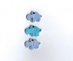 Handcrafted decorative ceramic buttons  Hippotamus