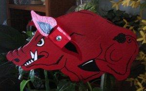 Whirligig  Red Razorback Pig  Mascot Motif