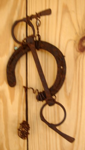Primitive Country Wind Chime garden art accent rusty reclaimed rusty horse shoe, wire  and horse bit