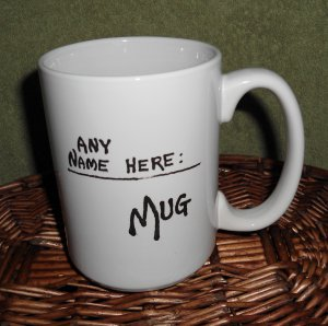Handpainted ceramic Mug Name added FREE White, 14 ounces