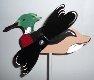 Handcrafted Whirligig Red Breastwed Meranser Water Duck