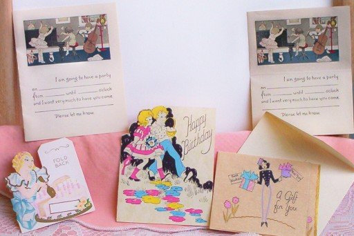 SOLD! LOT: 5 Vintage Greeting Cards- Different Occassions
