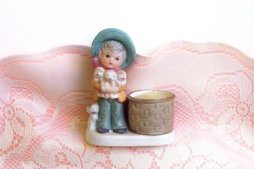 Little Luvkins Jasco Girl with 4 puppies and candle holder  FREE SHIPPING!
