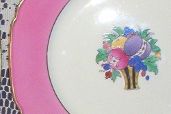 Rutland, Wheildon Ware F. Winkle Plates (2) Vintage Hot Pink Rim with Gold Trim  FREE SHIPPING!