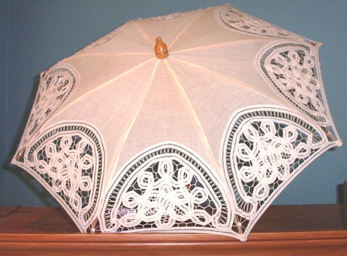 SOLD! Battenberg Lace & all wood fixture Parasol