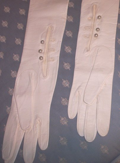 SOLD! Ladies Full Length Kid Gloves with Pearl Buttons