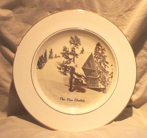 Homer Laughlin - Firs Chalet Collector Plate with Gold Trim FREE SHIPPING!