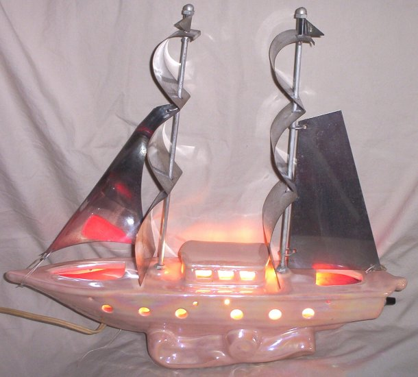 Ceramic Sail Boat / Ship TV Light FREE SHIPPING!