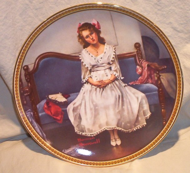 Norman Rockwell Rediscovering Women Collector Plate � Waiting for the Dance� FREE SHIPPING!