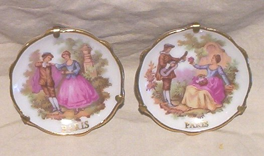 Lot 2- Limoges 2� Mini Plates Hand Painted by Fragonard-Paris- Mint! FREE SHIPPING!