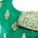 Green Silk with Gold Embroidered Sari Blouse FREE SHIPPING!