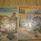 Two Vintage Rainbow Works Tray Puzzle 1975 Dinosaurs