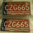 1976 Michigan License Plate CZG665, Pair, 2 matching plates