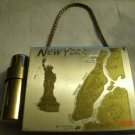 Vintage Gold Compact Cigarette Money Lipstick Case 2 sided Souvenir New York