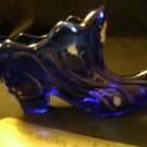 Vintage Fenton Cobalt Blue Hand Painted Shoe or Boot