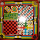 Carom Style Board -1965 Family Games Board by Munro - Carom, Golf, Backgammon, Checkers, Hockey