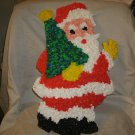 Vintage Plastic Melted Popcorn Wall Decoration SANTA 19""