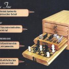 Rack 'Em 4 in 1 Compact Wood Board Game Set.  Chess, Backgammon, Solitaire, TicTacToe