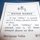 1974 Parker Brothers Monopoly Deed Card  Water Works