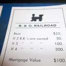 1974 Parker Brothers Monopoly Deed Card  B. & O. Railroad