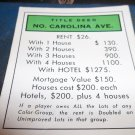 1974 Parker Brothers Monopoly Deed Card North Carolina Ave
