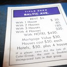 1974 Parker Brothers Monopoly Deed Card Baltic Ave
