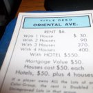 1974 Parker Brothers Monopoly Deed Card Oriental Ave