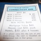 1974 Parker Brothers Monopoly Deed Card Connecticut Ave