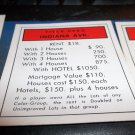 1974 Parker Brothers Monopoly Deed Card Indiana Ave.