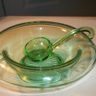 Vintage Green Depression Glass Bowl and Ladle Pretty Designs No Damage