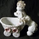 Vintage Planter - Poodle Pushing Baby Buggy with Spaghetti Detailing Damaged