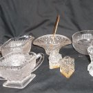 Lot of Six (6) Clear Glass Items, S & P, Cream & Sugar, Toothpick Holder & Bowl