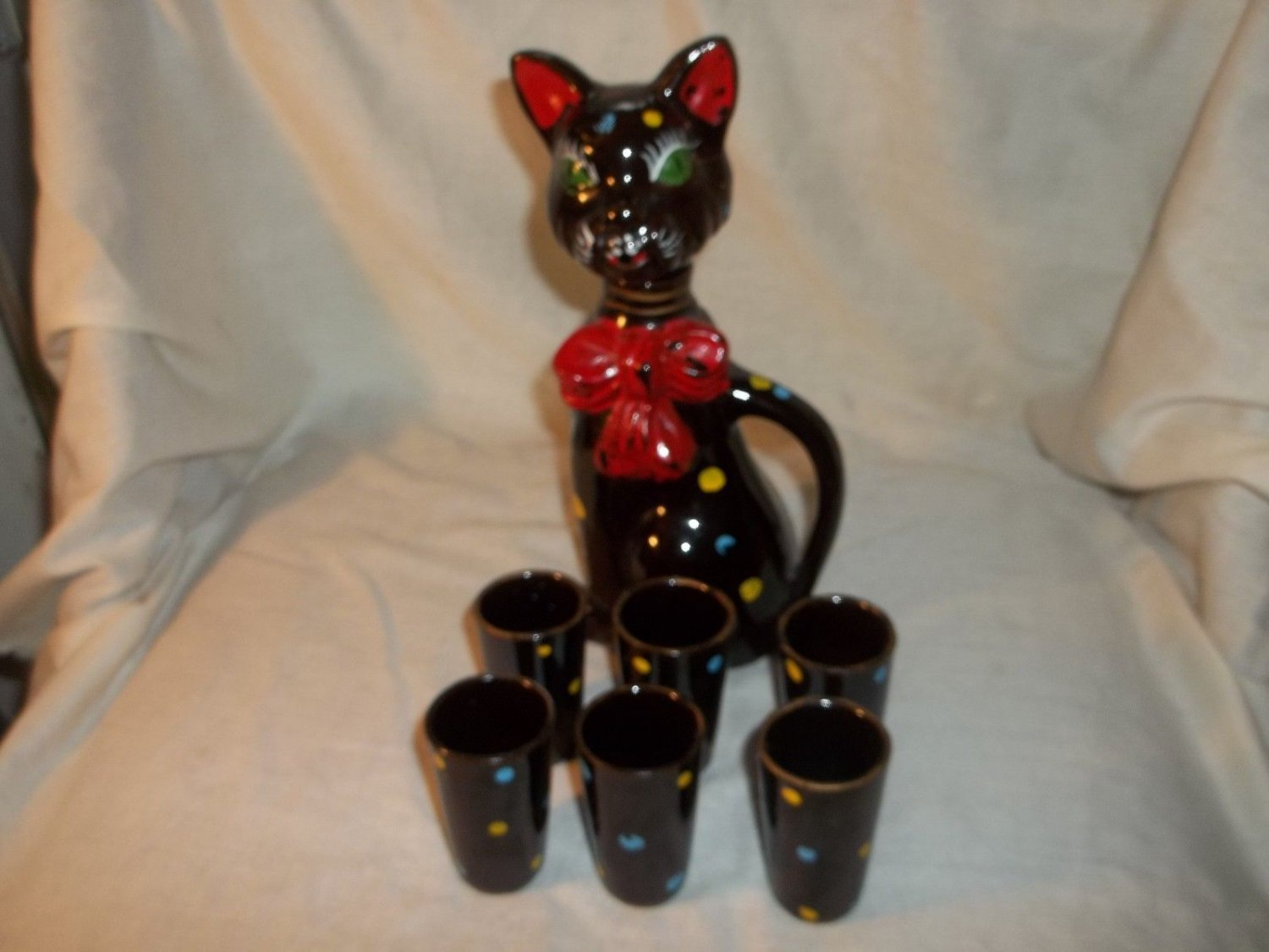 Vintage Decanter Bar Set, Cat and Six (6) Shot Glasses, Not Perfect, Very Cute!