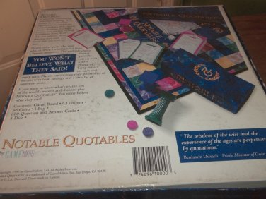Notable Quotables - 1990 - Very Clean, Very Good Condition Out of Print Game