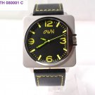 Trendy steel watch with genuine leather strap and luminous dial