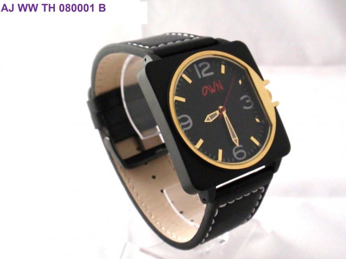 Trendy steel watch black gold plating with genuine leather and charming dial