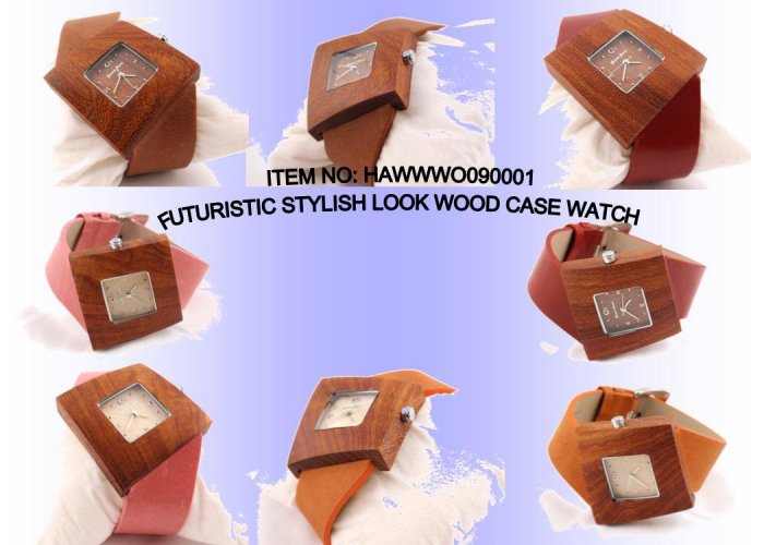 FUTURISTIC STYLISH LOOK WOOD CASE WATCH WITH GENUINE LEATHER STRAP