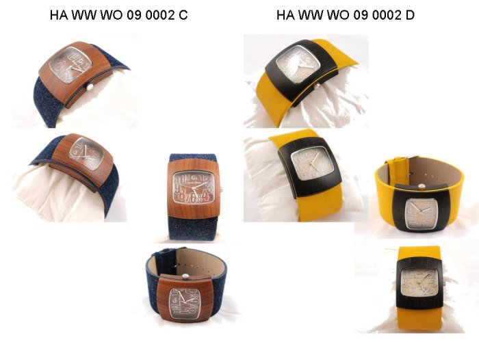 UNISEX CONVEX WOOD CASE WATCH IN LEATHER STRAP