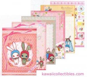 Kawaii San-X Japan Ruu & Suu Bunny Rabbit Memo Pad w/ Stickers A